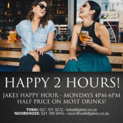 Mondays 4pm-6pm </br>half price on most drinks
