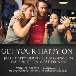 Friday 4pm-6pm </br>half price on most drinks